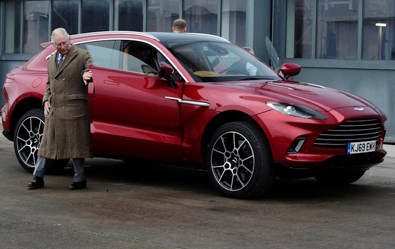 The Prince of Wales leaves the new Aston Martin DBX during a visit to the Aston Martin Lagonda factory at St Athan in Barry, Wales.