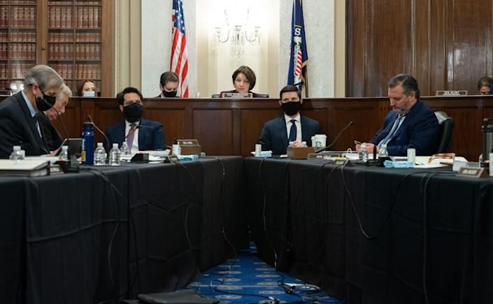 Sen. Amy Klobuchar (D-Minn.), chair of the Senate Rules Committee, holds a meeting Tuesday on S.1, the For the People Act, which would overhaul voting rights and election oversight. (Photo: SAUL LOEB/AFP via Getty Images)