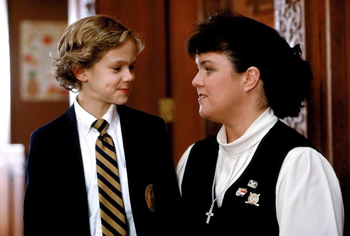 """A Catholic school kid (Joseph Cross, left, with Rosie O'Donnell) seeks to find God in """"Wide Awake."""""""