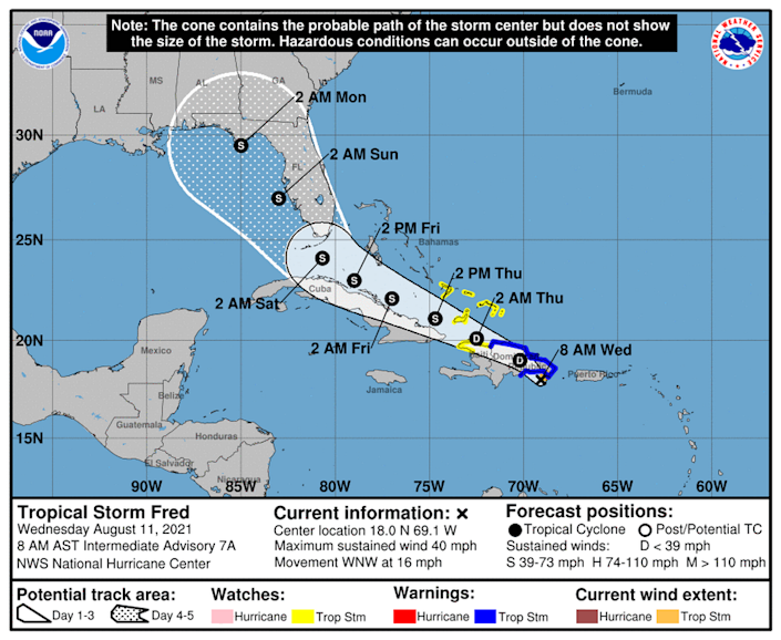 Tropical Storm Fred is expected to cross the Dominican Republic on Wednesday and weaken back to a tropical depression.