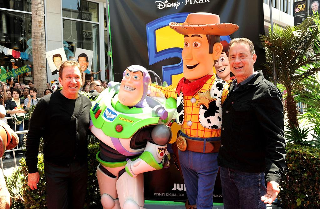 """<a href=""""http://movies.yahoo.com/movie/contributor/1800021848"""">Tim Allen</a> and <a href=""""http://movies.yahoo.com/movie/contributor/1800010392"""">Tom Hanks</a> at the Los Angeles premiere of <a href=""""http://movies.yahoo.com/movie/1809266566/info"""">Toy Story 3</a> - 06/13/2010"""