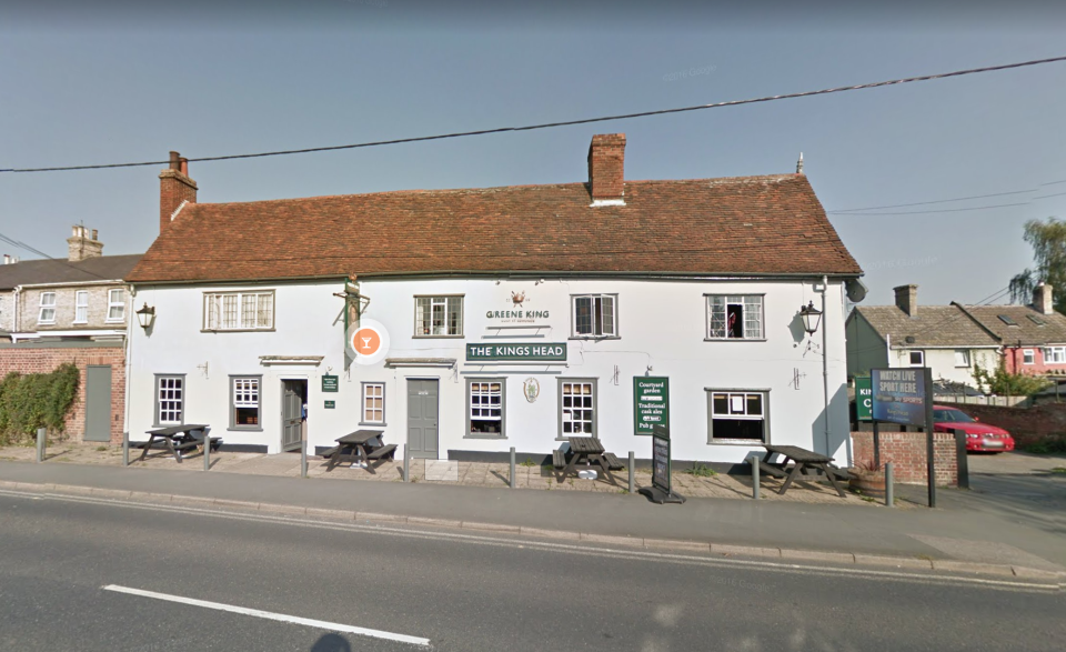 The cousins were celebrating April Charlesworth's birthday at the Kings Head pub in Great Cornard, Suffolk. (Google Maps)