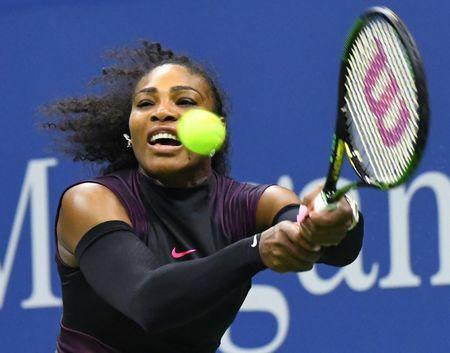 Sept 1, 2016; New York, NY, USA; Serena Williams of the USA hits to Vania King of USA (not pictured) on day four of the 2016 U.S. Open tennis tournament at USTA Billie Jean King National Tennis Center.  Robert Deutsch-USA TODAY Sports  / Reuters  Picture Supplied by Action Images