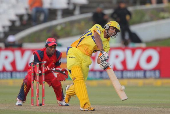 CAPE TOWN, SOUTH AFRCA - OCTOBER 16:  Ravindra Jadeja of the Chennai Super Kings bats during the Karbonn Smart CLT20 match between Chennai Super Kings (IPL) and bizhub Highveld Lions (South Africa) at Sahara Park Newlands on October 16, 2012 in Cape Town, South Africa.  (Photo by Carl Fourie/Gallo Images/Getty Images)