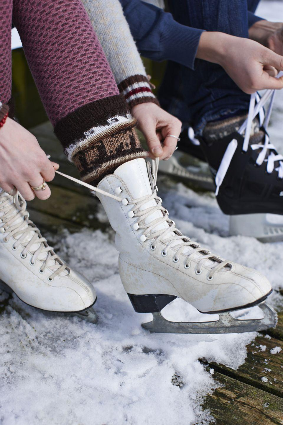 """<p>Lace up the skates and get ready to hit the ice! Skaters of all levels will have a blast gliding around and around. If you live in a winter wonderland, you can <a href=""""https://www.amazon.com/Skate-Anytime-Synthetic-Ice-Starter/dp/B076F6QR8S?tag=syn-yahoo-20&ascsubtag=%5Bartid%7C10050.g.2218%5Bsrc%7Cyahoo-us"""" rel=""""nofollow noopener"""" target=""""_blank"""" data-ylk=""""slk:build your own rink"""" class=""""link rapid-noclick-resp"""">build your own rink</a> or go out to a pond or lake—just make sure it's safe beforehand. If your winter months are on the warmer side, book some time at a local rink.</p>"""