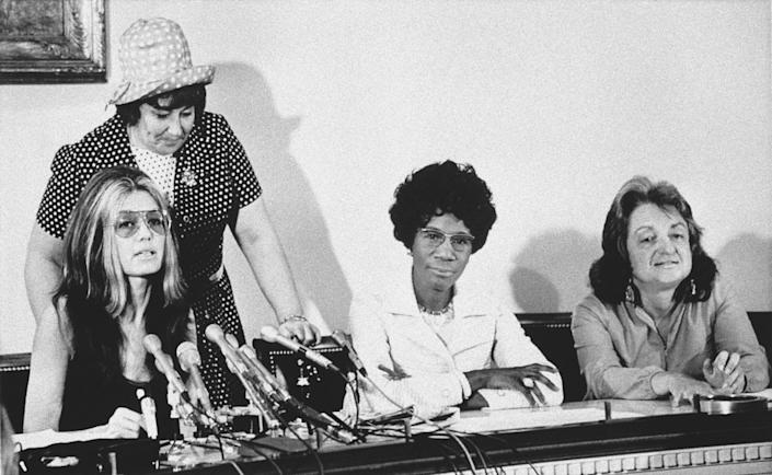 Gloria Steinem, Shirley Chisholm, Betty Friedan and Bella Abzug at a news conference in 1971.