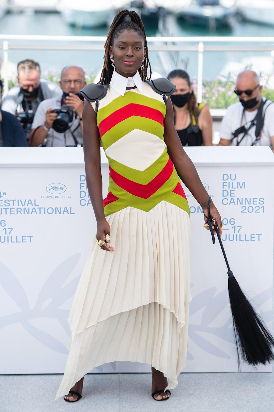 """Actress Jodie Turner-Smith donned a Gucci horse riding look complete with a leather crop. <span class=""""copyright"""">Photo: Samir Hussein/WireImage.</span>"""