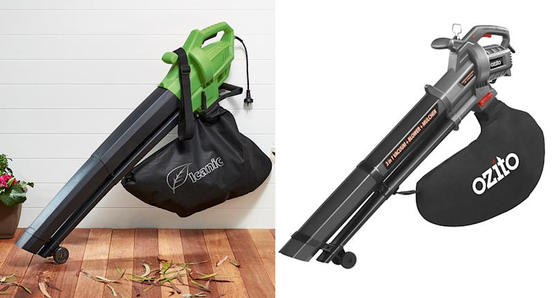 On the left is Coles' Icanic blower and on the right is Bunnings' Ozito blower - both $29.