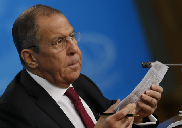 Russian Foreign Minister Sergey Lavrov speaks about his department's 2018 accomplishments during his annual roundup news conference in Moscow, Russia, Wednesday, Jan. 16, 2019. Lavrov reaffirmed that Russia would stand ready to develop ties with Britain and the EU irrespective of the outcome of talks on British departure from the EU. (AP Photo/Pavel Golovkin)