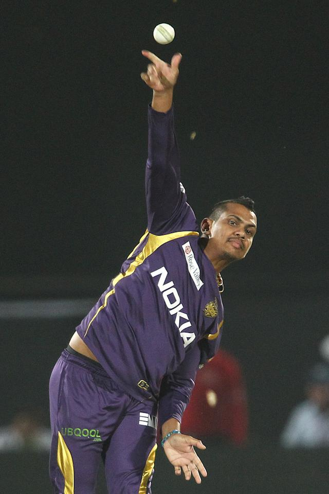 Sunil Narine of Kolkata Knight Riders sends down a delivery during match 8 of the the Pepsi Indian Premier League ( IPL) 2013 between The Rajasthan Royals and the Kolkata Knight Riders held at the Sawai Mansingh Stadium in Jaipur on the 8th April 2013..Photo by Shaun Roy-IPL-SPORTZPICS..Use of this image is subject to the terms and conditions as outlined by the BCCI. These terms can be found by following this link:..https://ec.yimg.com/ec?url=http%3a%2f%2fwww.sportzpics.co.za%2fimage%2fI0000SoRagM2cIEc&t=1502897535&sig=CQSlCpVbFchnIJwL4SM9ug--~C