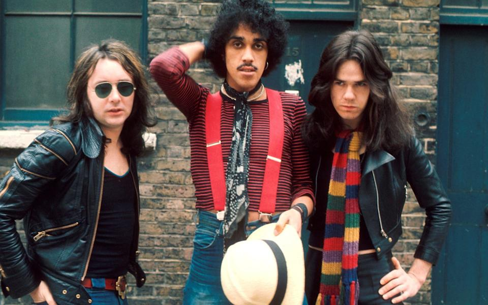 Revered: Thin Lizzy's Brian Downey (drums), Phillip Lynott (vocals & bass), Eric Bell (guitar)