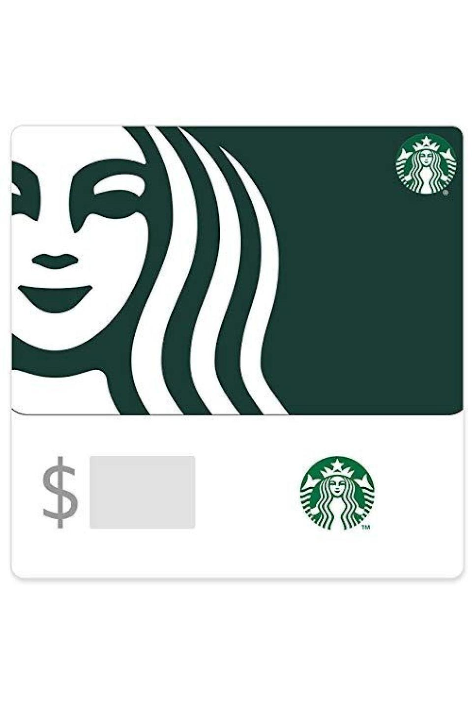"""<p><strong>Starbucks</strong></p><p>amazon.com</p><p><a href=""""https://www.amazon.com/dp/B076PXZBYS?tag=syn-yahoo-20&ascsubtag=%5Bartid%7C10049.g.34229001%5Bsrc%7Cyahoo-us"""" rel=""""nofollow noopener"""" target=""""_blank"""" data-ylk=""""slk:Shop Now"""" class=""""link rapid-noclick-resp"""">Shop Now</a></p><p>Let's face it, they're already spending way too much money on Starbucks runs every morning (okay, fine, and every afternoon), so help the coffee drinker in your life and get 'em a couple cups on you.</p>"""