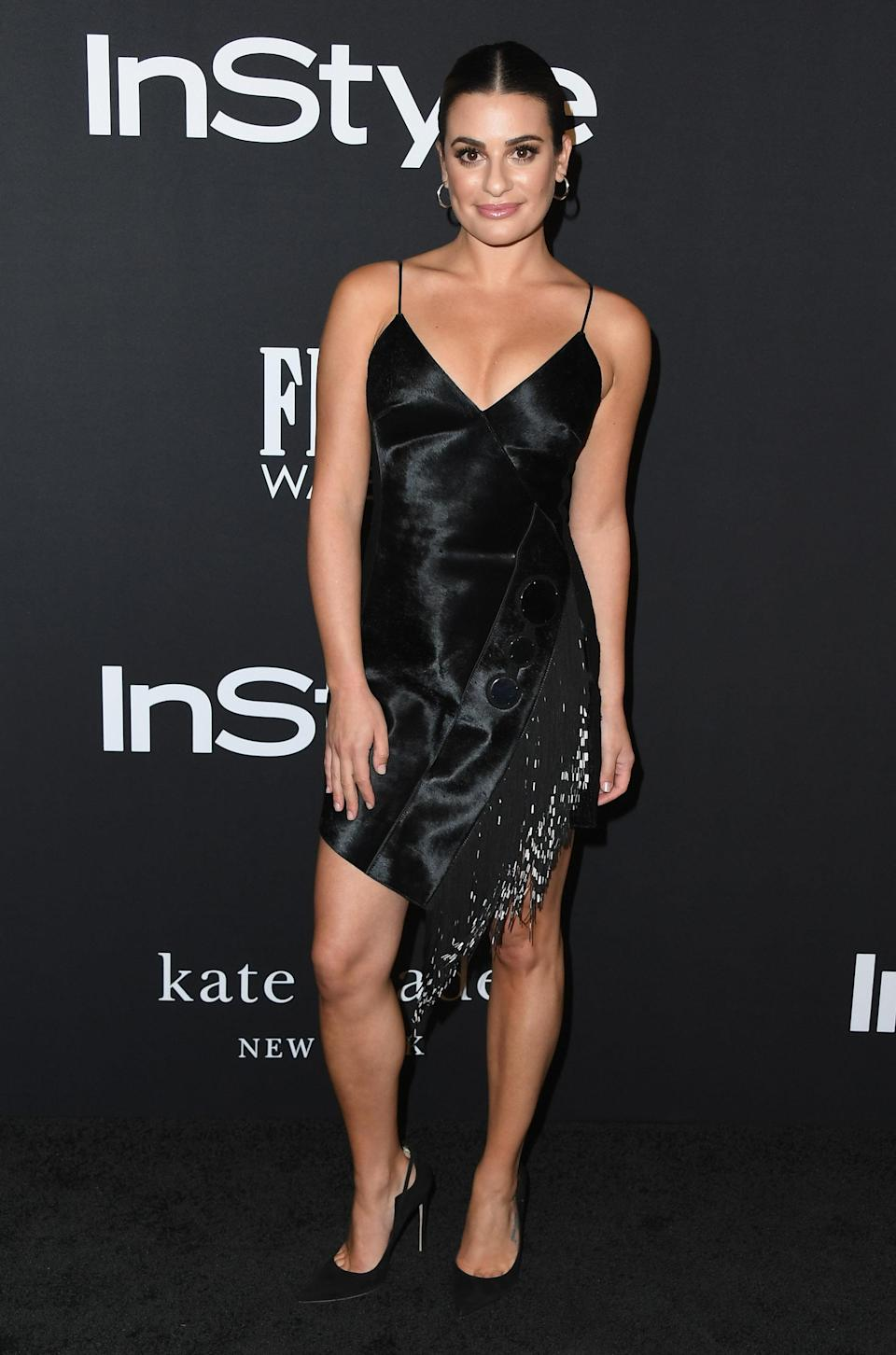 """<p>The former """"Glee"""" star wore an edgy black dress by David Koma. </p>"""