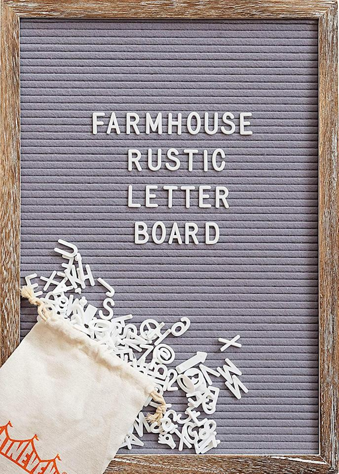 "<p>This <a href=""https://www.popsugar.com/buy/Felt-Letter-Board-Rustic-Wood-Frame-Script-Words-Precut-Letters-497582?p_name=Felt%20Letter%20Board%20with%20Rustic%20Wood%20Frame%2C%20Script%20Words%20and%20Precut%20Letters&retailer=amazon.com&pid=497582&price=29&evar1=savvy%3Auk&evar9=45312392&evar98=https%3A%2F%2Fwww.popsugar.com%2Fsmart-living%2Fphoto-gallery%2F45312392%2Fimage%2F46711745%2FFelt-Letter-Board-with-Rustic-Wood-Frame-Script-Words-Precut-Letters&list1=shopping%2Cgifts%2Choliday%2Cchristmas%2Cgift%20guide%2Cgifts%20for%20women&prop13=api&pdata=1"" rel=""nofollow"" data-shoppable-link=""1"" target=""_blank"" class=""ga-track"" data-ga-category=""Related"" data-ga-label=""https://www.amazon.com/dp/B07PPYR596/ref=cm_gf_aAF_i0_i11_i3_d_p0_c0_qd5_____________eo7vfsJuPFCayX6wHqyC?th=1"" data-ga-action=""In-Line Links"">Felt Letter Board with Rustic Wood Frame, Script Words and Precut Letters</a> ($29) is a cute way to add personality to a home.</p>"