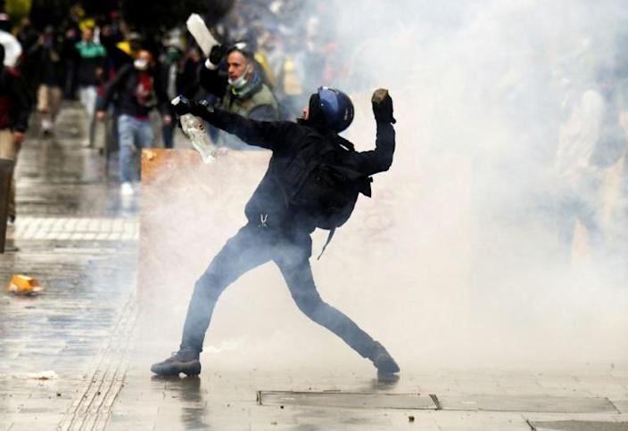 Increasingly violent demonstrations have been taking place for days in Colombia -- like this one in Bogota -- against the government
