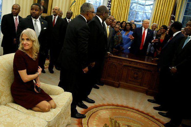Kellyanne Conway got comfortable sitting on a couch in the Oval Office. (Photo: Reuters)
