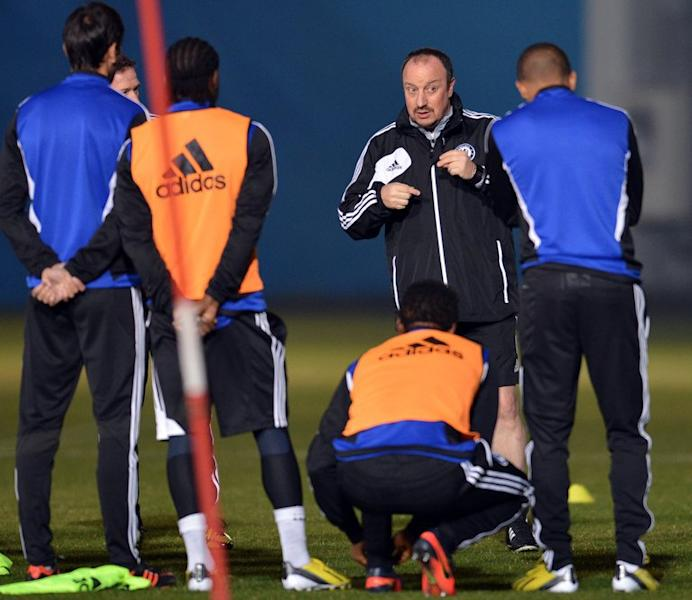 Interim Chelsea boss Rafael Benitez (2nd R) during a training session in Tokyo on December 15, 2012. He goes into the Club World Cup final against Corinthians on Sunday hoping for a win to placate fans who have continued to boo him at the tournament