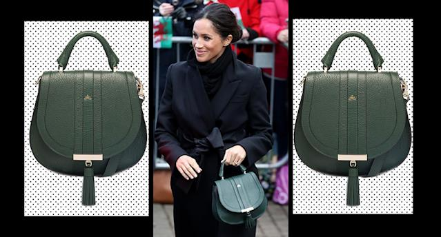 Meghan's green handbag by DeMillier is in the sale and still in stock. [Photo: Getty]