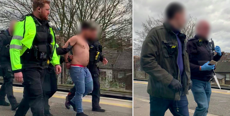 A topless man was seen being walked along the train station platform by police officers - with a knife clearly visible in the hands of one. (SWNS)