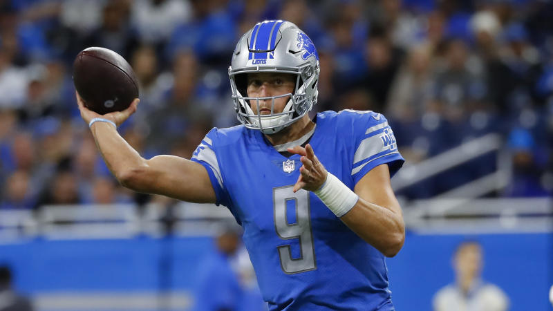 Detroit Lions quarterback Matthew Stafford won't be traded this offseason, GM Bob Quinn said. (AP Photo/Paul Sancya)