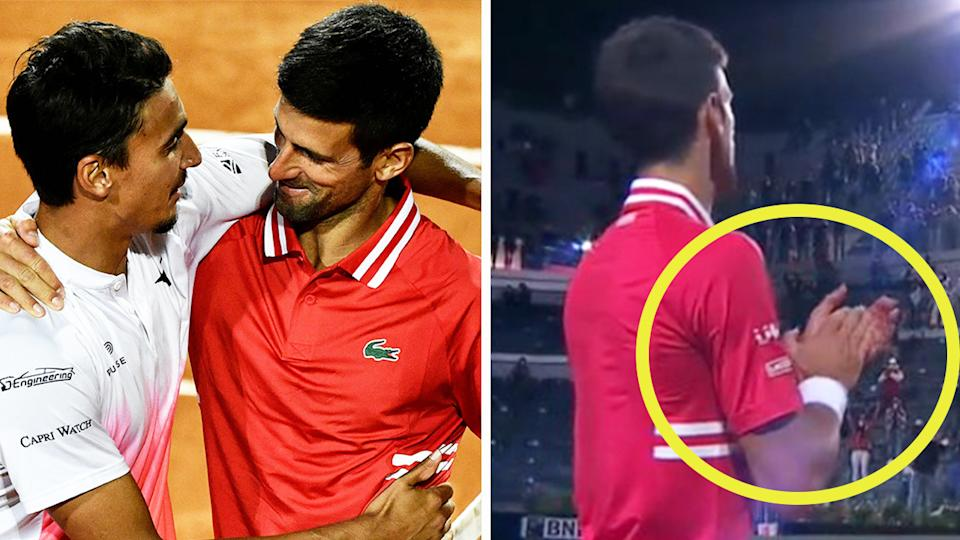 Novak Djokovic (pictured right) clapping his opponent off and (pictured left) hugging Lorenzo Sonego.