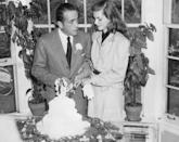 <p>Humphrey Bogart met Lauren Bacall on the set of <em>To Have and Have Not </em>in 1944. It was her first on-screen acting role. Bogart was 25 years older than Bacall, then just 19. They married on May 21, 1945, at the home of novelist Louis Bromfeld, Malabar Farm, in Mansfield, Ohio. Bogart had finalized his divorce just 10 days earlier. The couple starred opposite each other in four movies and in numerous TV shows. They remained together until Bogart's death in 1957.</p>