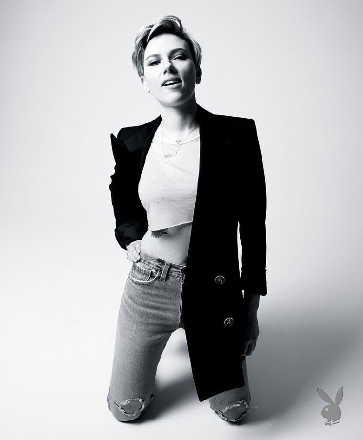ScarJo strikes a pose. (Photo: Jake Chessum/Playboy)