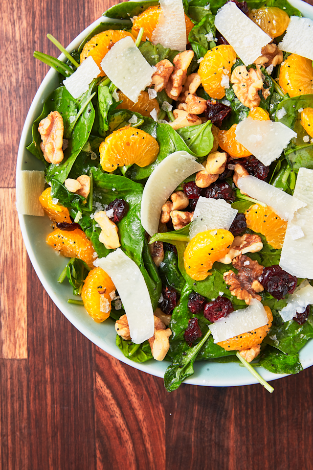 "<p>It's difficult to beat the combination of juicy, tart orange segments, peppery arugula, chewy cranberries, and toasty walnuts.</p><p>Get the recipe from <a href=""https://www.delish.com/cooking/recipe-ideas/a27925656/mandarin-orange-salad-recipe/"" target=""_blank"">Delish</a>.</p>"