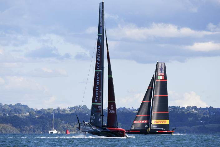Italy's Luna Rossa, right, sails against Team New Zealand in race 4 of the America's Cup on Auckland's Waitemata Harbour, Friday, March 12, 2021. (Chris Cameron/Photosport via AP)