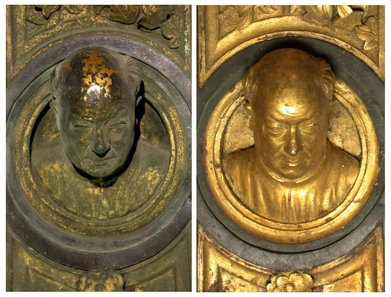 "In this undated photo provided by the Opera di Santa Maria del Fiore, Lorenzo Ghiberti's self portrait is seen on the original panel of the ""Door of Paradise"" before and after 27 years of restoration in Florence, Italy. The original gilded bronze door, so splendid it was dubbed the ""Door of Paradise"" by Michelangelo, will be seen again in Florence after 27 years of restoration to remove damage by pollution, vandalism and the wear and tear of centuries. But Lorenzo Ghiberti's 15th-century door won't be going back in its place on the baptistry of Florence's duomo, or cathedral. Starting in September, it will go on display in a Florence museum, Museo dell'Opera di Santa Maria del Fiore, to preserve it from renewed damage. (AP Photo/OPD Salvio, Opera di Santa Maria del Fiore)"