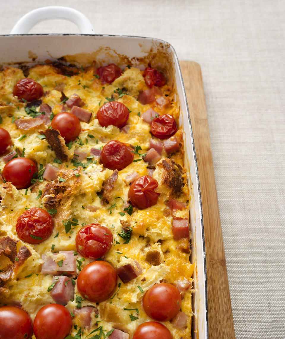 <p>Chop up the ingredients the night before, and it'll take you just 5 minutes to assemble this tasty breakfast casserole Christmas morning. </p>