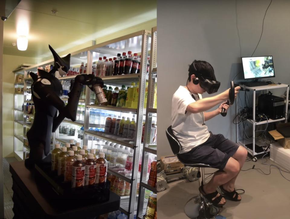 Japanese robotics company Telexistence designed the robot Model-T, which can be controlled remotely at least 8km away using a VR (virtual reality) set. Family Mart uses Model-T to restock items on shelves.