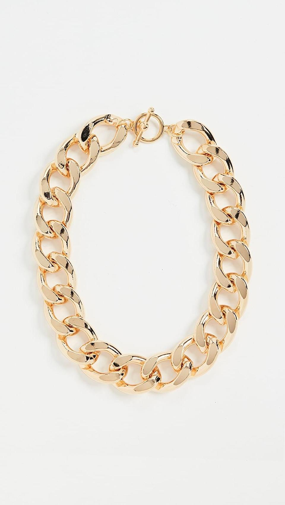 <p>This <span>Kenneth Jay Lane Gold Large Links Chain Necklace</span> ($53, originally $75) will instantly embellish any ensemble.</p>