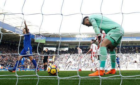 Soccer Football - Premier League - Leicester City vs Stoke City - King Power Stadium, Leicester, Britain - February 24, 2018 Stoke City's Jack Butland looks dejected after scoring an own goal for Leicester City's first Action Images via Reuters/Andrew Boyers