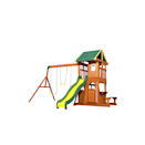 """<p><strong>Backyard Discovery</strong></p><p>amazon.com</p><p><strong>$900.00</strong></p><p><a href=""""https://www.amazon.com/dp/B016XMTXUQ?tag=syn-yahoo-20&ascsubtag=%5Bartid%7C10055.g.35853477%5Bsrc%7Cyahoo-us"""" rel=""""nofollow noopener"""" target=""""_blank"""" data-ylk=""""slk:Shop Now"""" class=""""link rapid-noclick-resp"""">Shop Now</a></p><p>Our Lab pros loved that this swing set <strong>packs a lot of play into a comparatively small footprint</strong>. It features two swings, a trapeze, a canopy-covered top deck accessible via ladder with a slide dismount, and a covered ground-level fort with a swinging door, a snack window and a park bench just outside. </p><p>Made with resilient pre-stained cedar wood, which naturally resists mold and decay, this set meets ASTM safety standards. For even more play, Backyard Discovery offers swing sets in a <a href=""""https://www.amazon.com/Backyard-Discovery-Skyfort-Cedar-Swing/dp/B0177AVE9G?tag=syn-yahoo-20&ascsubtag=%5Bartid%7C10055.g.35853477%5Bsrc%7Cyahoo-us"""" rel=""""nofollow noopener"""" target=""""_blank"""" data-ylk=""""slk:range of sizes"""" class=""""link rapid-noclick-resp"""">range of sizes</a> and budgets, and our Lab pros also loved the products for adults, such as <a href=""""https://www.amazon.com/Backyard-Discovery-1802513-Pergola-Stained/dp/B07CNDHK3P?tag=syn-yahoo-20&ascsubtag=%5Bartid%7C10055.g.35853477%5Bsrc%7Cyahoo-us"""" rel=""""nofollow noopener"""" target=""""_blank"""" data-ylk=""""slk:pergolas"""" class=""""link rapid-noclick-resp"""">pergolas</a>.</p><p><em>Assembled dimensions: 14' x 11'3 x 8'7</em></p>"""