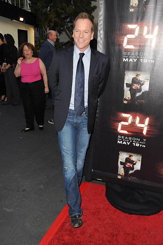 """Meanwhile, Kiefer Sutherland hit the red carpet for a screening of the """"24"""" season finale on Tuesday. It was the actor's first event since he was charged with assault for allegedly headbutting designer Jack McCollough. Jordan Strauss/<a href=""""http://www.wireimage.com"""" target=""""new"""">WireImage.com</a> - May 12, 2009"""