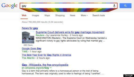 "Following Pride month in June 2013, Google changed its search box to a rainbow whenever a user <a href=""http://www.huffingtonpost.com/2013/06/26/google-gay_n_3503445.html"" rel=""nofollow noopener"" target=""_blank"" data-ylk=""slk:searched for a &quot;LGBT&quot;-related term."" class=""link rapid-noclick-resp"">searched for a ""LGBT""-related term.</a>"