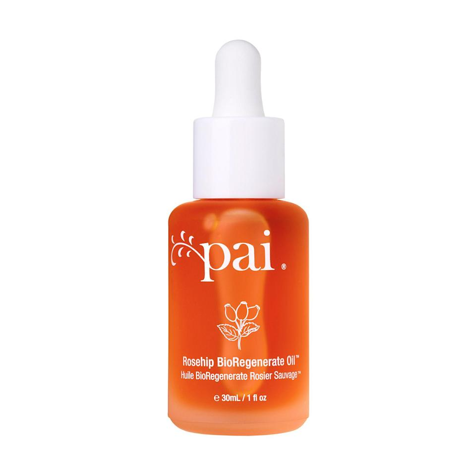 """<p><strong>Pai Skincare</strong></p><p>amazon.com</p><p><strong>$40.00</strong></p><p><a rel=""""nofollow noopener"""" href=""""http://www.amazon.com/dp/B004SUH21I/"""" target=""""_blank"""" data-ylk=""""slk:Shop Now"""" class=""""link rapid-noclick-resp"""">Shop Now</a></p><p>This formula's main ingredient is rosehip oil, which contains a high number of omega-rich fatty acids and antioxidants, which work together to even out the overall tone of your skin and balance its oil production. It also contains linoleic acid, which builds skin-moisturizing ceramides to keep your face calm.</p>"""