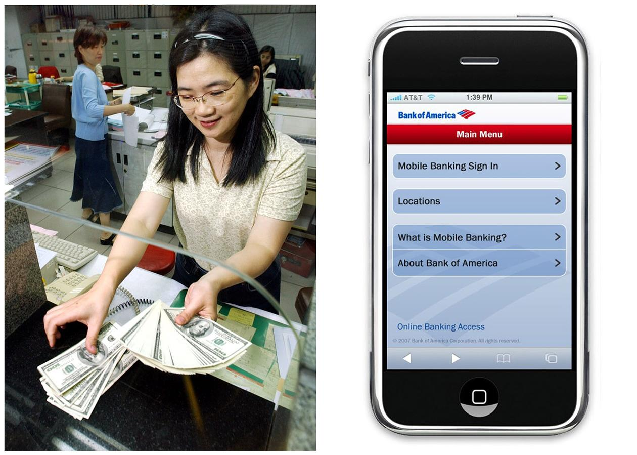 <b>Bank Teller</b> <br> <br> A bank teller at work, and right, the 2011 Bank of America mobile application on a mobile device. Many middle-class workers have lost jobs because powerful software and computerized machines are doing tasks that only humans could do before. <br><br> BLS Job Outlook, 2010-20: -2% <br><br> Employment Change, 2010-20: -1,100