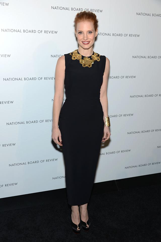 Jessica Chastain attends the 2013 National Board Of Review Awards Gala at Cipriani 42nd Street on January 8, 2013 in New York City.  (Photo by Dimitrios Kambouris/WireImage)