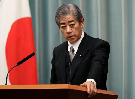 Japan's Defence Minister Takeshi Iwaya attends a news conference in Tokyo