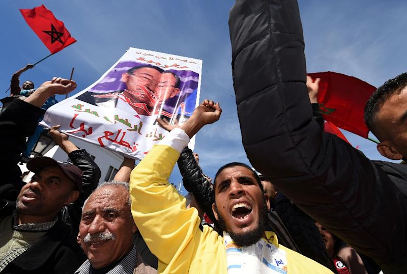 Moroccan protesters demonstrate in the capital Rabat against statements made by United Nations Secretary General Ban Ki-moon about the disputed Western Sahara (AFP Photo/Fadel Senna)