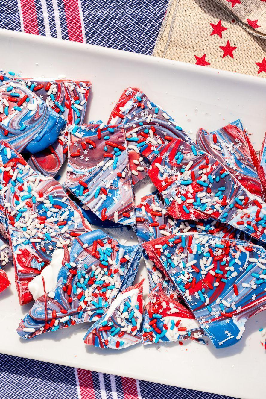 """<p>Let freedom ring with this red, white, and blue chocolate bark. Edible gold stars are recommended, not required.</p><p><em><a href=""""https://www.delish.com/cooking/recipe-ideas/recipes/a47951/4th-of-july-freedom-bark-recipe/"""" rel=""""nofollow noopener"""" target=""""_blank"""" data-ylk=""""slk:Get the recipe from Delish »"""" class=""""link rapid-noclick-resp"""">Get the recipe from Delish »</a></em></p><p><strong>RELATED: </strong><a href=""""https://www.goodhousekeeping.com/holidays/g4363/memorial-day-quotes/"""" rel=""""nofollow noopener"""" target=""""_blank"""" data-ylk=""""slk:30 Memorial Day Quotes That Honor Our Fallen Heroes"""" class=""""link rapid-noclick-resp"""">30 Memorial Day Quotes That Honor Our Fallen Heroes</a><br></p>"""