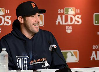 Justin Verlander addresses the media Thursday in advance of the Detroit Tigers' division series against the New York Yankees