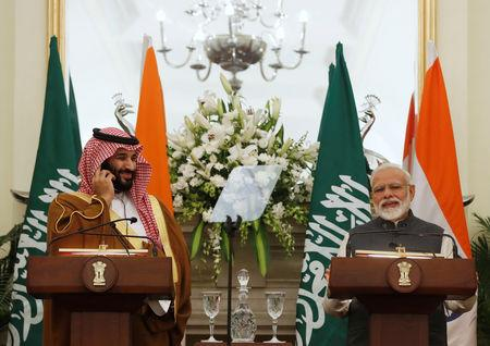 Saudi Arabia's Crown Prince Mohammed bin Salman attends a meeting with Indian Prime Minister Narendra Modi at Hyderabad House in New Delhi, India, February 20, 2019. REUTERS/Adnan Abidi