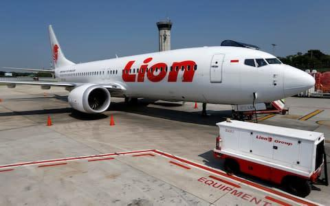 <span>Lion Air's Boeing 737 Max 8 airplane is parked on the tarmac of Soekarno Hatta International airport near Jakarta. A similar plane crashed in October, killing all on board</span>