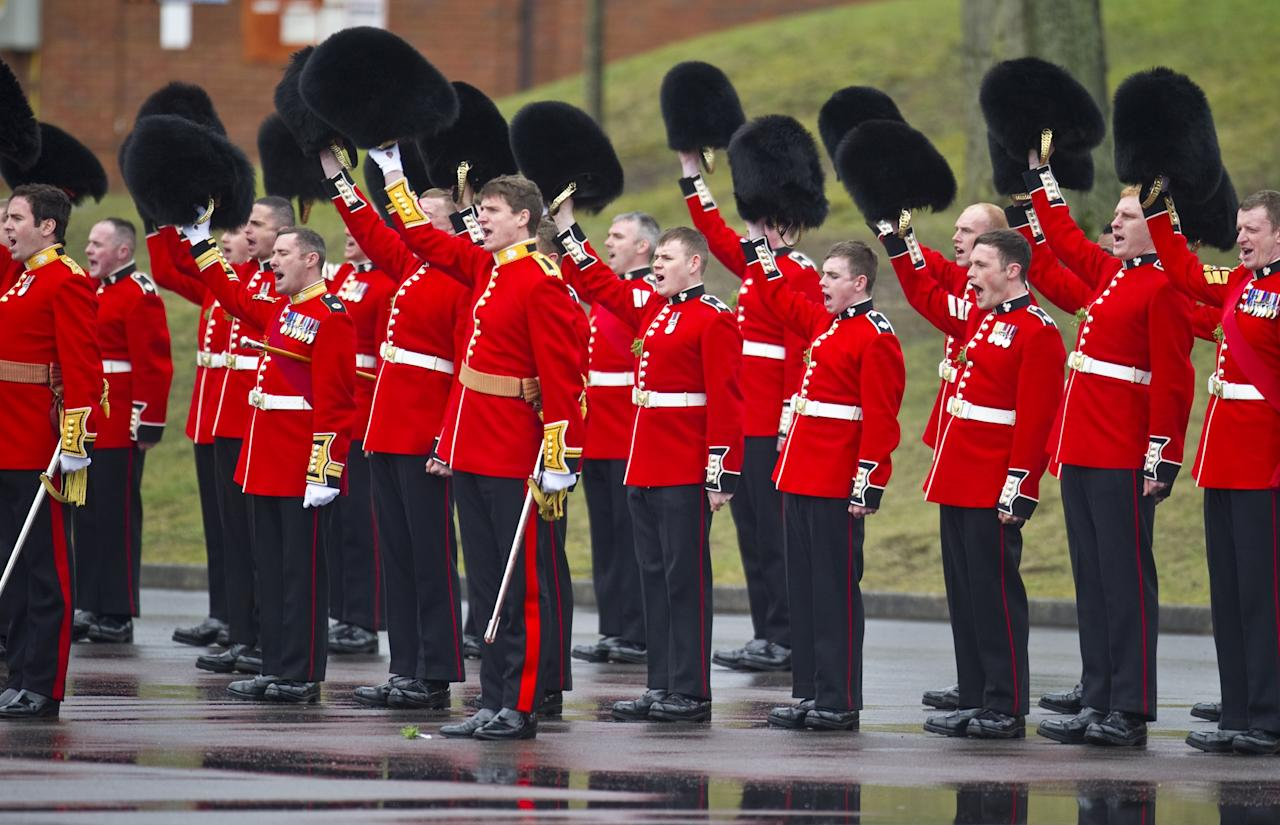 ALDERSHOT, ENGLAND - MARCH 17:  A general view of the 1st Battalion Irish Guards as Catherine Duchess of Cambridge and Prince William, Duke of Cambridge attend the Irish Guards' St Patrick's Day Parade at Mons Barracks on March 17, 2013 in Aldershot, England.  (Photo by Antony Jones/UK Press via Getty Images)