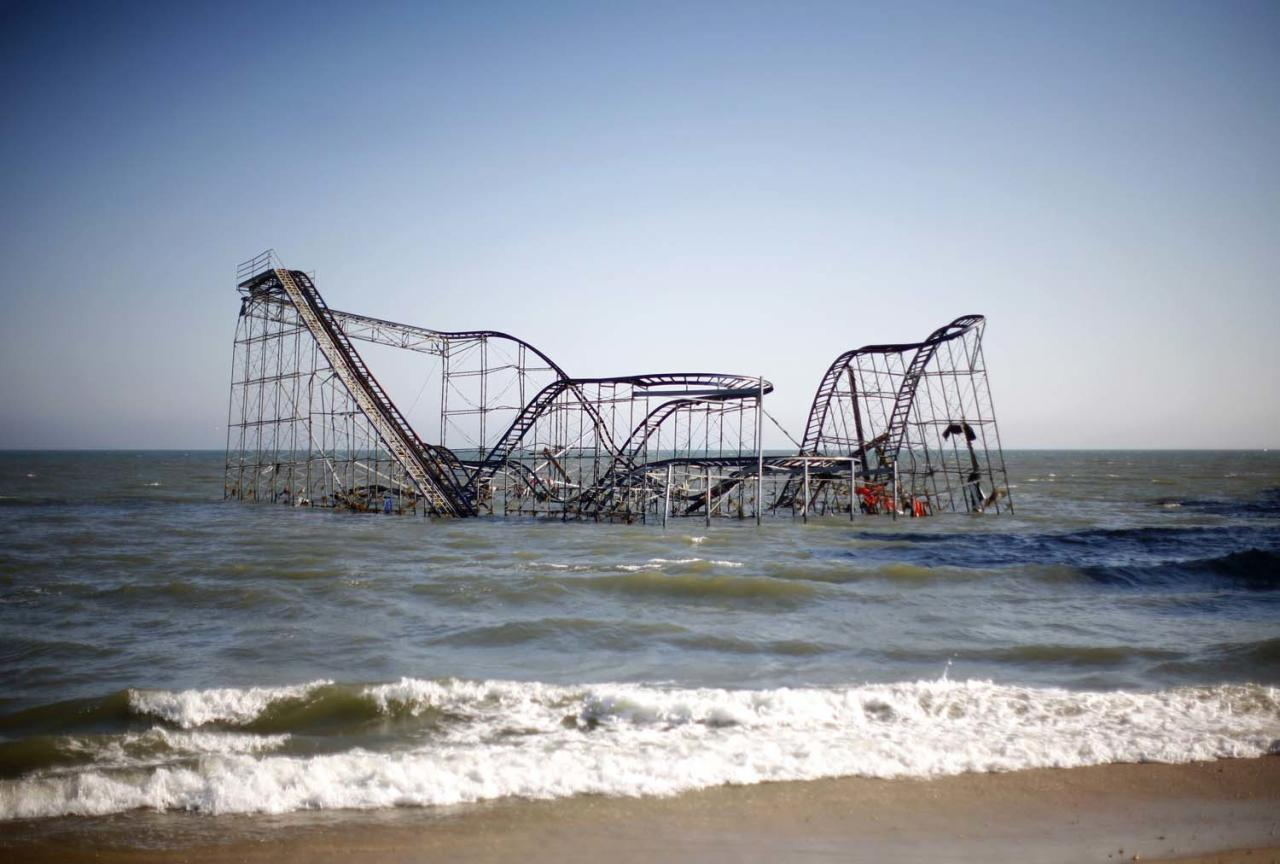 A roller coaster is seen in the ocean in the aftermath of Hurricane Sandy in Seaside Heights, New Jersey November 11, 2012. REUTERS/Eric Thayer