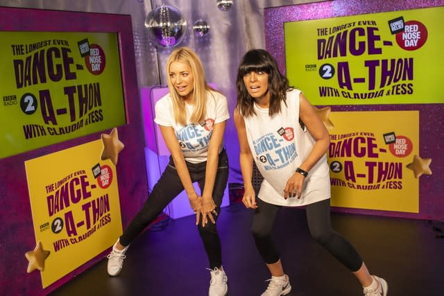Claudia Winkleman and Tess Daly during their danceathon
