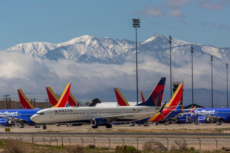 Planes parked at the Southern California Logistics Airport in Victorville on Tuesday. (David McNew via Getty Images)